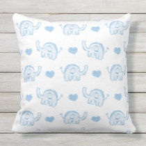 watercolor blue baby elephants outdoor pillow