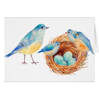 Watercolor Blue Bird Chicks Nest Greeting Card