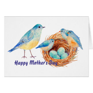 Watercolor Blue Bird Chicks Nest Greeting Card