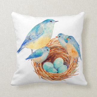 Watercolor Blue Bird Chicks Nest Pillow