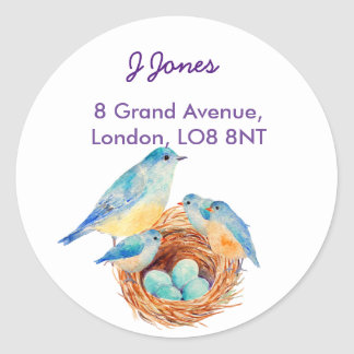 Watercolor Blue bird Family Address Label