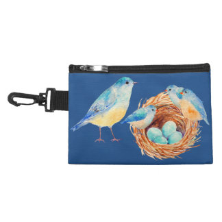 Watercolor Blue Bird Family Bag Accessories Bags