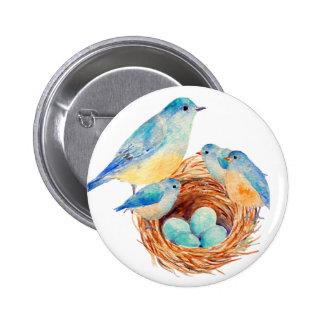 Watercolor Blue Bird Family Bird Nest Chicks 2 Inch Round Button