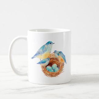 Watercolor Blue Bird Family Bird Nest Chicks Classic White Coffee Mug
