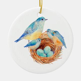 Watercolor Blue Bird Family Bird Nest Chicks Double-Sided Ceramic Round Christmas Ornament