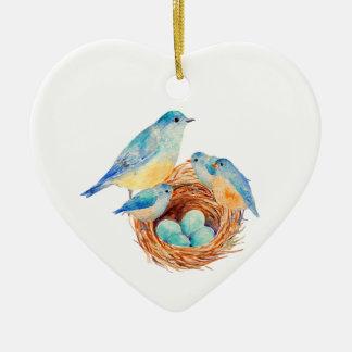 Watercolor Blue Bird Family Bird Nest Chicks Double-Sided Heart Ceramic Christmas Ornament