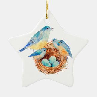 Watercolor Blue Bird Family Bird Nest Chicks Double-Sided Star Ceramic Christmas Ornament
