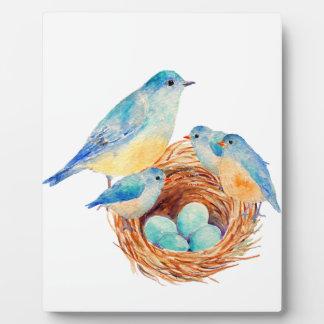 Watercolor Blue Bird Family Bird Nest Chicks Photo Plaques