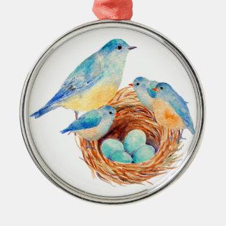 Watercolor Blue Bird Family Bird Nest Chicks Round Metal Christmas Ornament