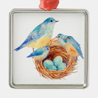 Watercolor Blue Bird Family Bird Nest Chicks Square Metal Christmas Ornament