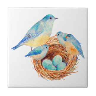 Watercolor Blue Bird Family Bird Nest Chicks Tile