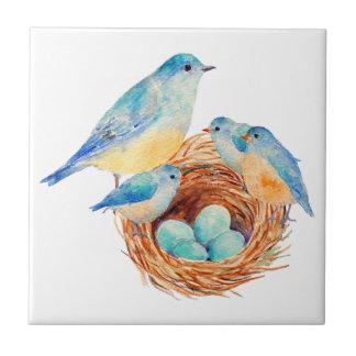 Watercolor Blue Bird Family Bird Nest Chicks Tile