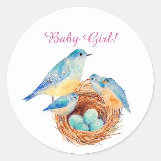 Watercolor Blue Bird Family New Born Sticker