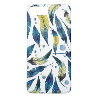 Watercolor blue bird feathers pattern iPhone 7 plus case