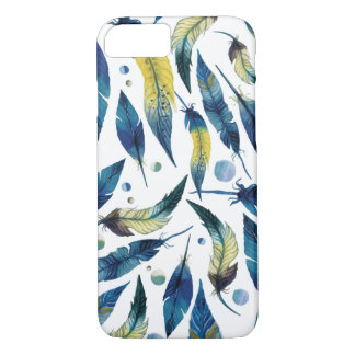 Watercolor blue bird feathers pattern iPhone 8/7 case