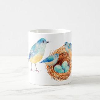 Watercolor Blue Birds and Nest Mug