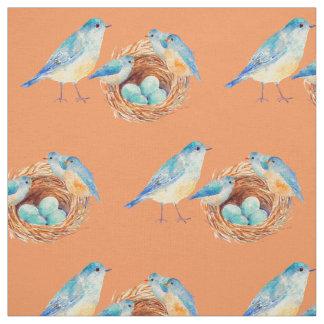 Watercolor Blue birds Chicks Nest Fabric