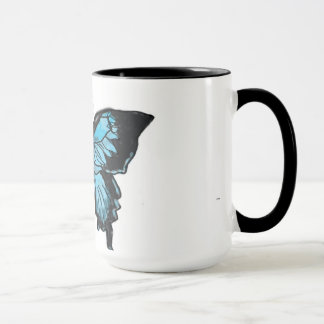 Watercolor Blue & Black Swallowtail Butterfly Mug