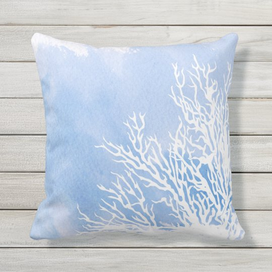 Modern Blue Outdoor Pillows : Watercolor blue coral reef modern beach summer outdoor pillow Zazzle.com