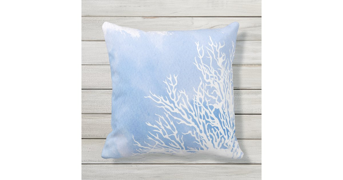 Watercolor blue coral reef modern beach summer outdoor pillow Zazzle