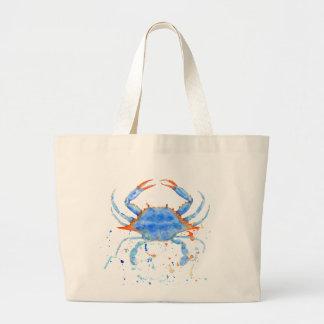 Watercolor blue crab paint splatter large tote bag