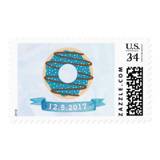 Watercolor Blue Donut Stamp