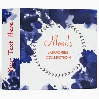 Watercolor Blue Elegant  Vintage Personalize 3 Ring Binder