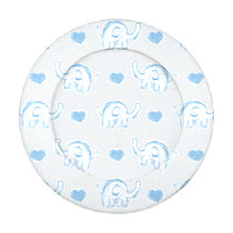 watercolor blue elephants hearts button cover