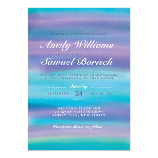 Watercolor Blue Evening Sky Wedding Invitation