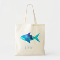 Watercolor Blue Fish Sea Life Kids Personalized Tote Bag