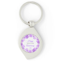 Watercolor Blue Floral Anniversary Wreath Keychain