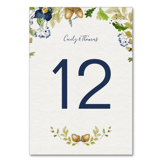 Watercolor Blue Flowers Acorns and Oak Leaves | Table Number
