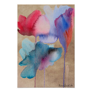 Watercolor blue flowers modern floral on taupe poster
