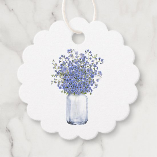 Watercolor Blue Forget-Me-Nots Mason Jar Thank You Favor Tags