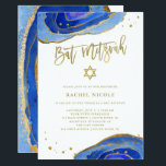 "Watercolor Blue Geode with Gold | Bat Mitzvah Invitation<br><div class=""desc"">These elegant,  modern Bat Mitzvah invitations feature trendy blue watercolor geode stones with faux gold handwritten script,  Star of David,  and accents.</div>"