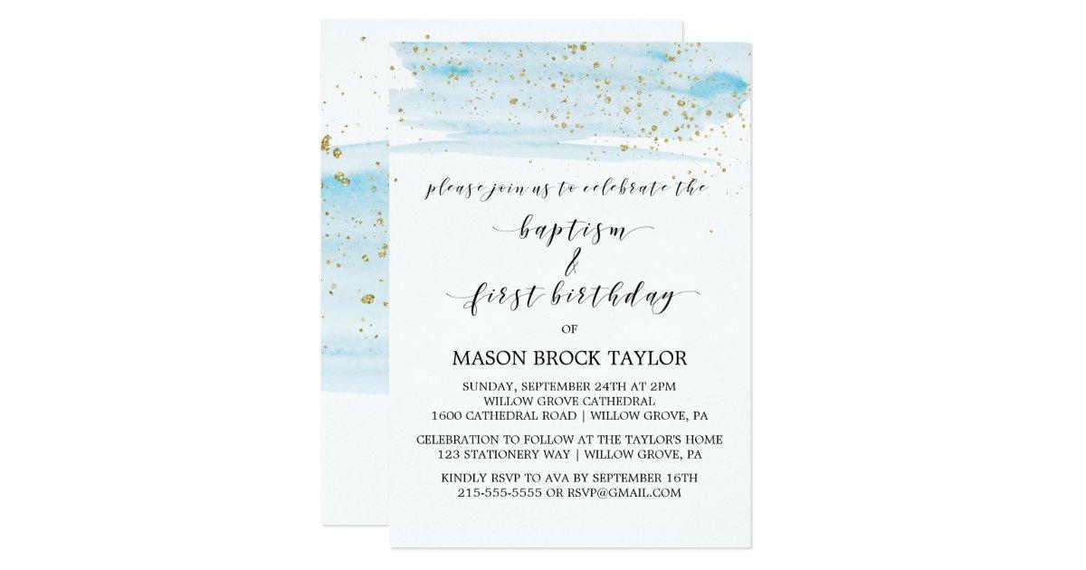 Watercolor Blue Gold Baptism 1st Birthday Invitation Zazzle Com