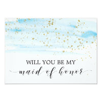 Watercolor Blue & Gold Be My Maid of Honor Card