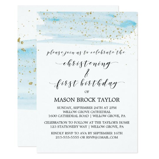 watercolor blue gold christening 1st birthday invitation