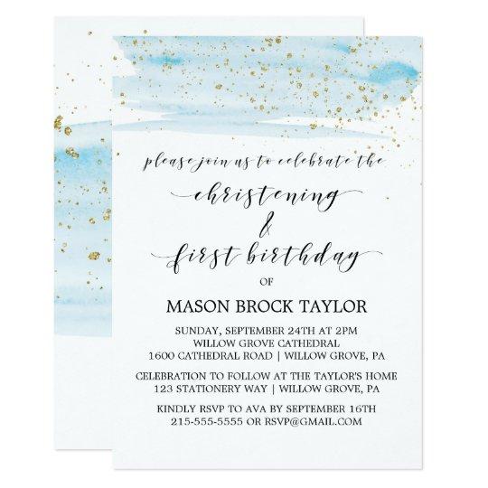 Watercolor Blue Gold Christening 1st Birthday Invitation