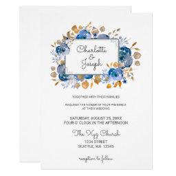 Blue Gold Floral Wedding Invites