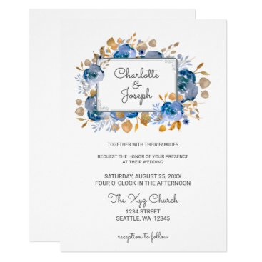 Watercolor Blue Gold Floral Modern Wedding Card