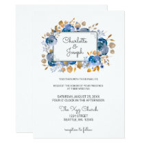 Watercolor Blue Gold Floral Modern Wedding Invites