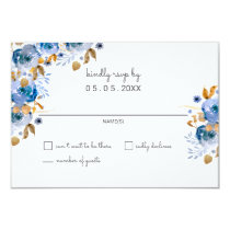 Watercolor Blue Gold Floral Modern Wedding rsvp Card