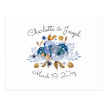 Watercolor Blue Gold Floral Modern Wedding rsvp Postcard
