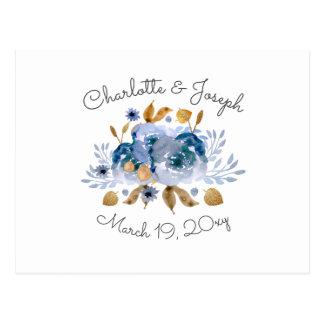 Watercolor Blue Gold Floral Modern Wedding rsvp Postcard