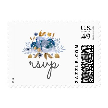 Watercolor Blue Gold Floral rsvp postage