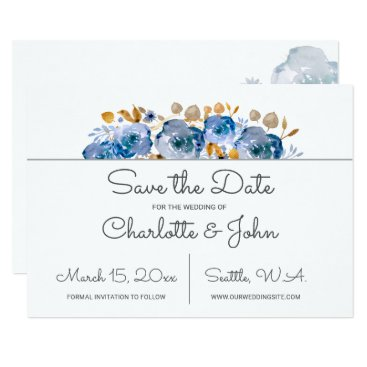 Watercolor Blue Gold Floral save the dates Card