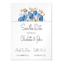 Watercolor Blue Gold Floral save the dates Magnetic Card