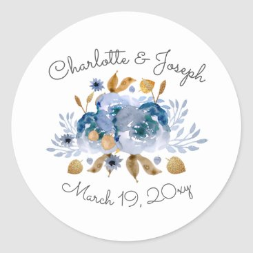 Watercolor Blue Gold Floral stickers