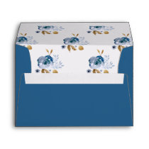Watercolor Blue Gold Floral Wedding envelopes